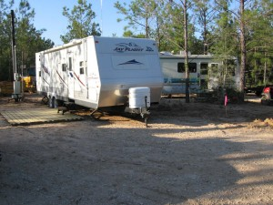 The owner's 31' Jayco Bunkhouse parked next to the Old Girl