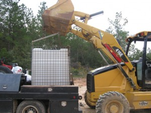 Loading up the portable water tank