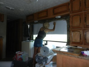 Miss K installing the InfraStop Double Bubble---so simple Tuco the Dog could almost do it if she had thumbs.