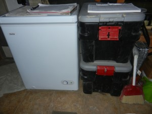 Danby DCF401W1 3.6 cu.ft. Chest Freezer paired with two Rubbermaid Action Packers