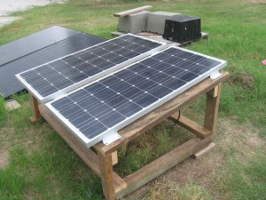 Low cost solar array rack deployed.