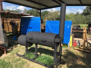 My custom smoker sittin' at its' birthin' place in Gonzales,TX